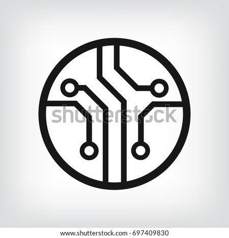 Circuit board, technology icon, vector logo.