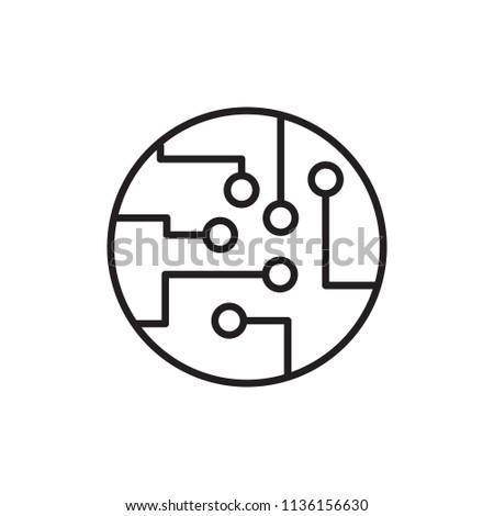 Circuit board thin line icon. Vector.