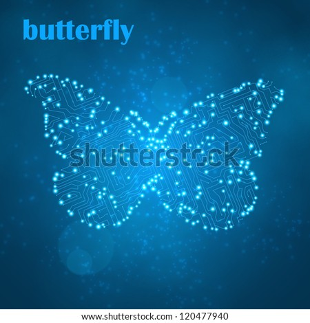 Circuit board vector background, butterfly illustration eps10