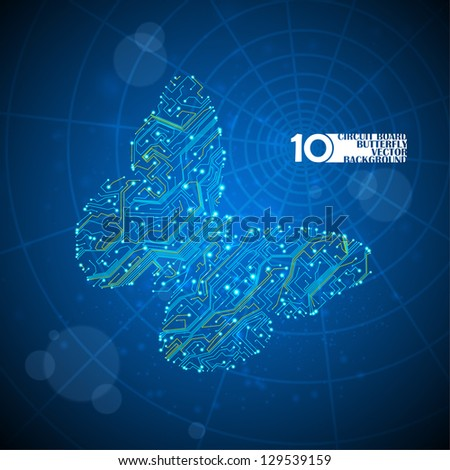 Circuit board vector background, technology illustration, butterfly illustration eps10