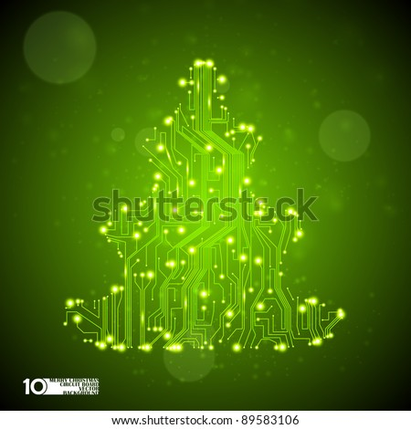circuit board vector background, technology illustration, christmas tree eps10