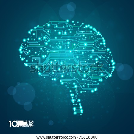 circuit board vector background, technology illustration, form of brain eps10