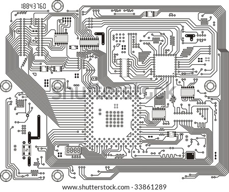Circuit board vector computer drawing. Electronic motherboard with chips.