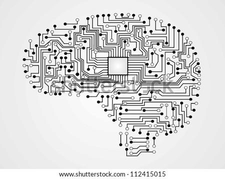 circuit board vector of brain