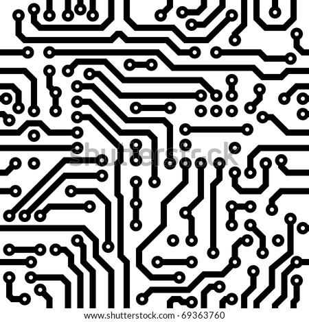 Circuit board vector texture. Computer nanotechnology elements seamless pattern.