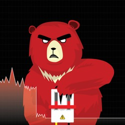 Circuit breakers function concept, stop trading to prevent stock market crashes, Graph and chart equity price fall down to red bear push down circuit breaker device, Flat vector illustration