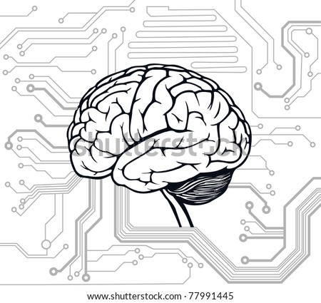 circuit style with brain model. vector background