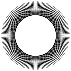 Circular abstract monochrome design element on white