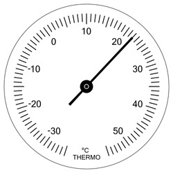 Circular analog thermometer indicator face. Measuring temperature in degrees celsius. Thermometer vector illustration.