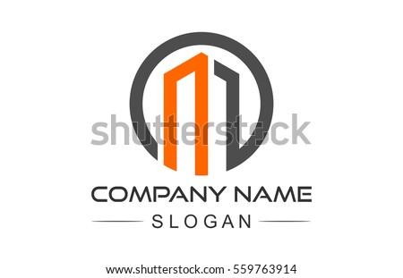 circular architecture icon, symbol letter m logo