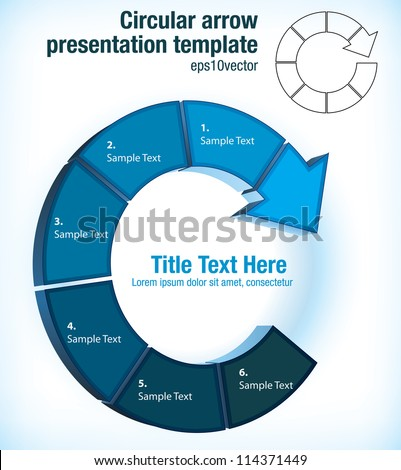 Circular arrow pictogram flow chart presentation template with six individual partitions for text