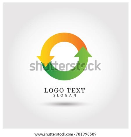 Circular Arrow Symbol & Icon Logo Vector Template