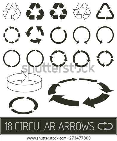 circular arrows in flat clean black solution
