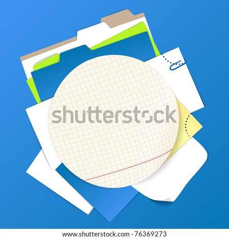 Circular background of color office stuff