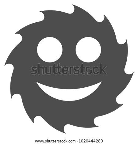 Circular Blade Happy Smiley vector pictogram. Style is flat graphic gray symbol.