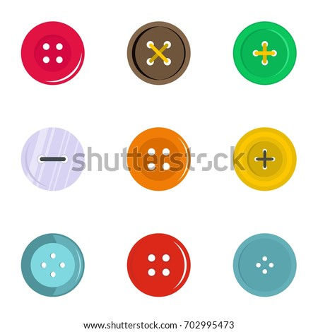 Circular clothes button icon set. Flat set of 9 circular clothes button vector icons for web isolated on white background