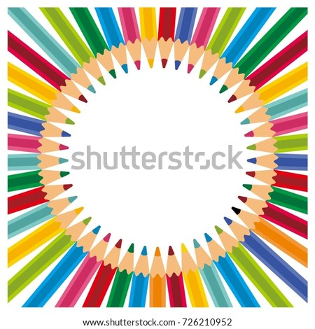 Circular Colored Pencils Background. Colored Pencils Educational Frame Twibbon Template Border Vector Design. Colorful School Background