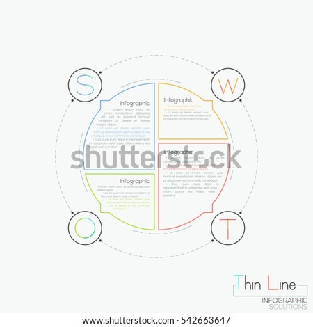 Circular diagram divided into 4 parts of different size with text boxes. Modern infographic design template. SWOT-analysis, structured planning method concept. Vector illustration in thin line style.