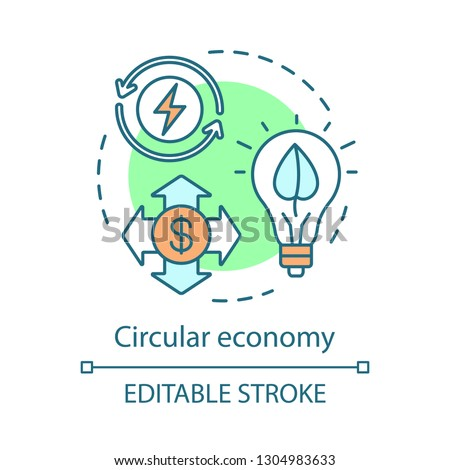 Circular economy concept icon. Resource recovery idea thin line illustration. Industrial ecology. Eco manufacturing. Vector isolated outline drawing. Editable stroke