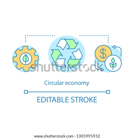 Circular economy concept icon. Waste reduction, alternative resource idea thin line illustration. Energy recovery. Eco conservation. Vector isolated outline drawing. Editable stroke