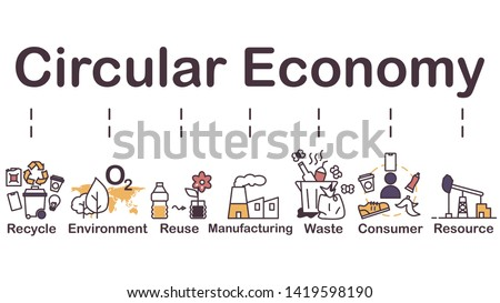 Circular economy icon, recycle, environment, reuse, manufacturing, waste, consumer, resource. easy to adjust color, minimal design vector.