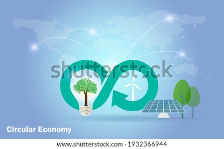 Circular economy icon with lightbulb, solar panels, wind turbines on world map background. Sustainable strategy goal to eliminate waste and pollution, renewable and reuse natural resources. Foto stock ©