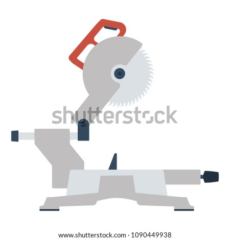 Circular end saw icon. Flat color design. Vector illustration.