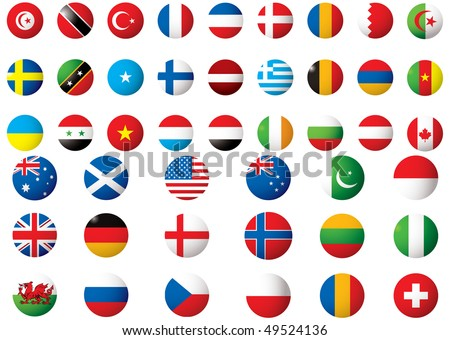 circular flags of the world on a white background