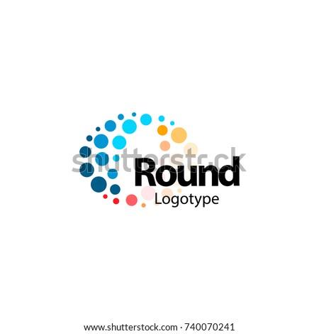 Circular flexible abstract colorful logo. High tech nano molecular sparkling circles sign. Unusual wave vector icon. Round fireworks logotype.