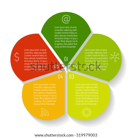 circular flower infographic design template connected round banner