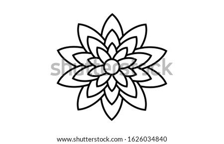 Circular flower pattern in form of mandala for Henna, Mehndi, tattoo, decoration. Decorative ornament in ethnic oriental style. Coloring book page.K Stock fotó ©