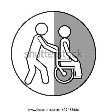 circular frame shading with silhouette person helping another push a ...