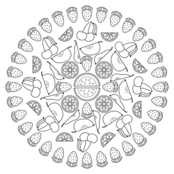 Circular fruit pattern in form of mandala. Vector illustration. Coloring book page.