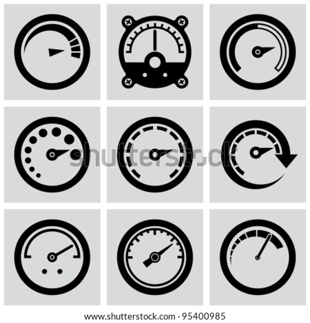 Circular gauges icons set.