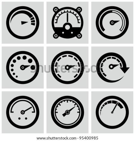 Circular gauges icons set.