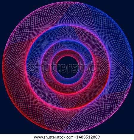 Circular gradient vector design illustration with dark blue background.