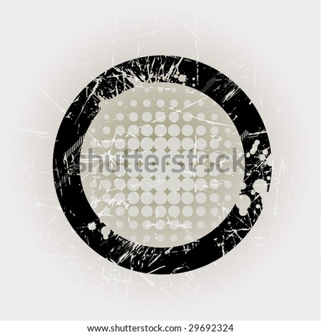 Circular grunge frame with drips