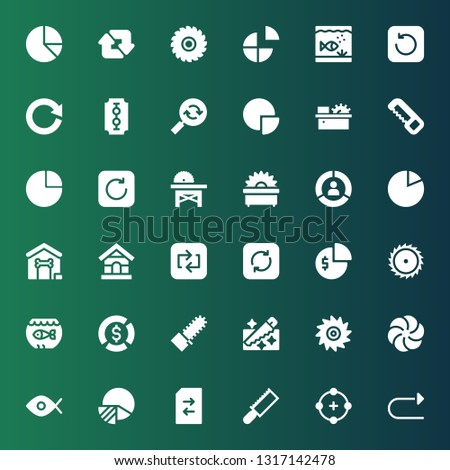 circular icon set. Collection of 36 filled circular icons included Redo, Circle, Saw, Change, Pie chart, Fisheye, Vortex, Mechanical saw, Aquarium, Refresh, Repeat, Dog house