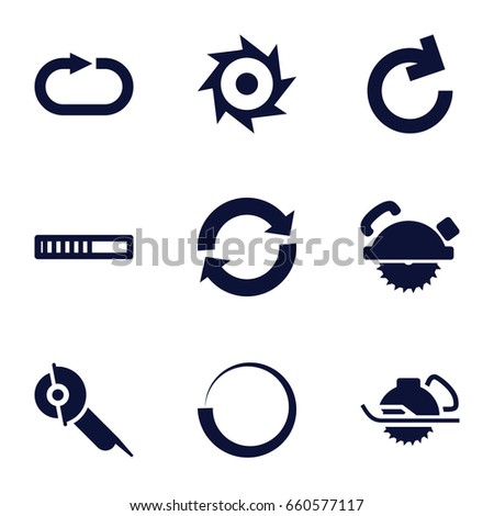 Circular icons set. set of 9 circular filled icons such as saw blade, electric saw, reload replay, saw, reload