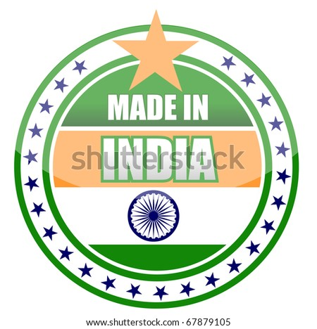 Circular illustration made in india stamp isolated over a white background.