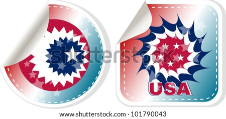 Circular illustration made in USA stamp set isolated over a white background