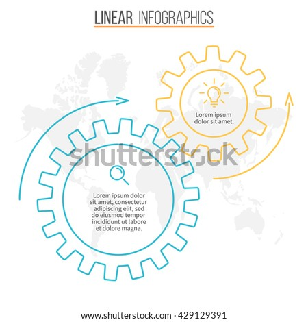Circular infographic. Chart, diagram, graph with 2 gears. Linear vector template.