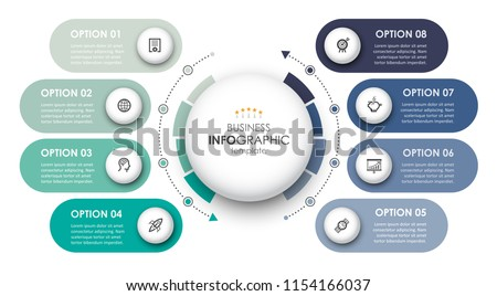 Circular Infographic design template with icons and 8 options or steps. Business concept.  Can be used for process diagram, presentations, workflow layout, banner, flow chart, info graph.