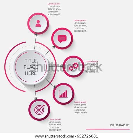 Circular infographics vertically oriented in pink tones