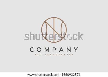 Circular Line Letter N Logo isolated on Grey Background. Flat Vector Logo Design Template Element. Foto stock ©