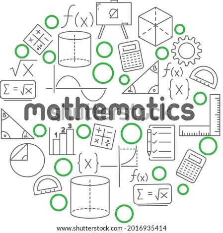 Circular mathematics poster, elements of math, accounting, algebra, vector Foto stock ©