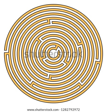 Circular maze for kids isolated on white background. Labyrinth vector illustration.