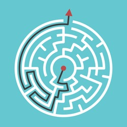 Circular maze with way from center to exit on turquoise blue background. Problem, confusion and solution concept. Flat design. EPS 8 compatible vector illustration, no transparency, no gradients