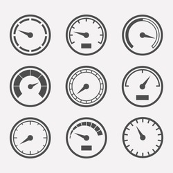 Circular meter icon vector set. Collection of round gauges. Black symbols speedometer, tachometer and manometer.