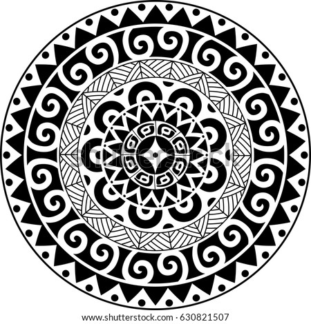 Circular ornament. Polynesian ornament. Polynesian tattoo